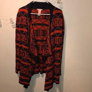Navy and orange sweater